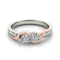 14k White And Rose Gold Round Two Diamond Curved Band Ring (5/8 Cttw) - 43684401