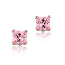 14k White Gold 4mm Princess Pink Cz Stud Earrings