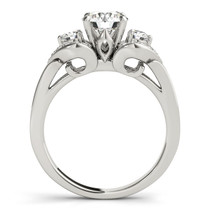 14k White Gold 3 Stone Diamond Engagement Antique Style Ring (1 3/8 Cttw) - 43686054