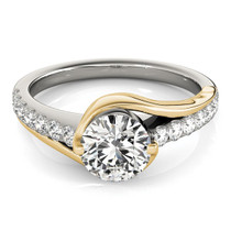 14k Two Tone Gold Split Shank Style Diamond Engagement Ring (1 1/4 Cttw) - 43686197