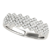 Diamond Studded Wide Multi-diagonal Pattern Ring In 14k White Gold (5/8 Cttw) - 43686398
