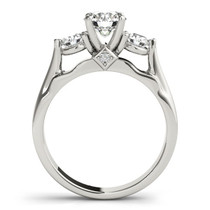 14k White Gold 3 Stone Prong Setting Diamond Engagement Ring (1 3/8 Cttw) - 43686458