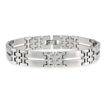 """Stainless Steel Double """"i"""" And Bar Link Bracelet"""