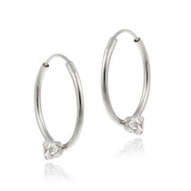 10k White Gold Cz Mini Endless Hoop Earrings
