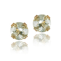 14k Yellow Gold 1/2ct Green Amethyst Stud Earrings, 4mm