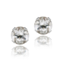 14k White Gold 3/5ct White Topaz Stud Earrings, 4mm