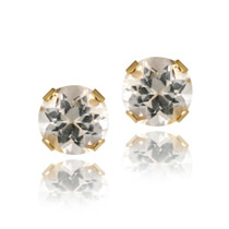 14k Yellow Gold 3/5ct White Topaz Stud Earrings, 4mm