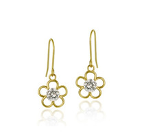 10k Gold Cz Flower Dangle Earrings