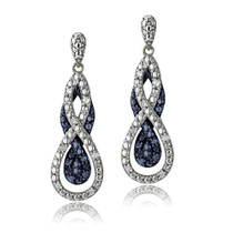 1/4 Ct Blue & White Diamond Intertwining Infinity Dangle Earrings