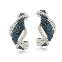 1/4 Ct Blue & White Diamond Twist Half Hoop Earrings