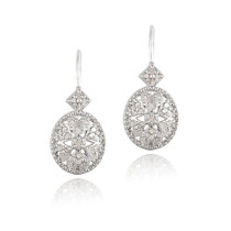 1/2ct Diamond Filigree Oval Leverback Earrings