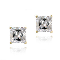 18k Gold Plated Cz Square Stud Earrings, 5mm