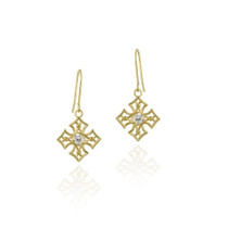 10k Gold Cz & Open Diamond Shape Dangle Earrings