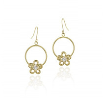 10k Gold Circle & Cz Flower Dangle Earrings