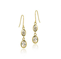 10k Gold Cz Oval Dangle Earrings