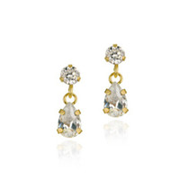 10k Gold Cz Teardrop Mini Dangle Earrings