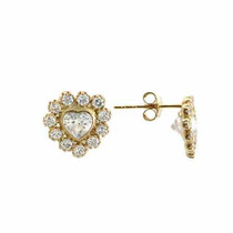 14k Gold Simulated Diamond Cz Heart Earrings