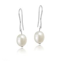 Stainless Steel Baroque Freshwater Cultured White Pearl Dangle Earrings