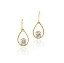 10k Gold Cz & Teardrop Dangle Earrings