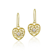 10k Gold Cz & Filigree Heart Dangle Earrings