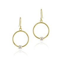 10k Gold Circle Dangle Earrings With Cz Stud