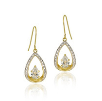 10k Gold Cz & Two Tone Teardrop Dangle Earrings