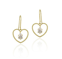 10k Gold Cz & Open Heart Dangle Earrings