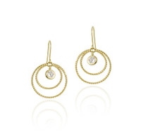 10k Gold Cz & Double Circles Dangle Earrings