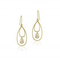 10k Gold Cz & Double Teardrops Dangle Earrings