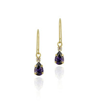 10k Gold Teardrop Amethyst & Clear Cz Dangle Earrings