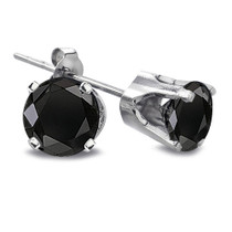 2 Ct Round Black Diamond 14k White Gold Stud Earrings