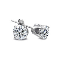 1/2 Ct Round Diamond 14k White Gold Stud Earrings