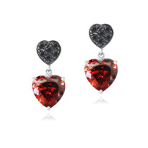 Red & Black Cz Double Heart Dangle Earrings