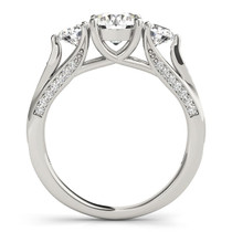 14k White Gold 3 Stone Style Round Diamond Engagement Ring (1 3/4 Cttw) - 43682421