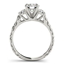 14k White Gold Antique Design 3 Stone Diamond Engagement Ring (1 3/4 Cttw) - 43685362