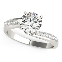 14k White Gold Bypass Round Pronged Diamond Engagement Ring (1 5/8 Cttw) - 43684689