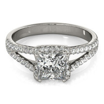 14k White Gold Princes Cut Halo Split Shank Diamond Engagement Ring (2 Cttw) - 43683573