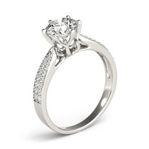 Six Prong 14k White Gold Diamond Engagement Ring With Pave Band (1 5/8 Cttw) - 43683439