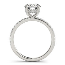 14k White Gold Diamond Engagement Ring With Scalloped Row Band (2 1/4 Cttw) - 43682479
