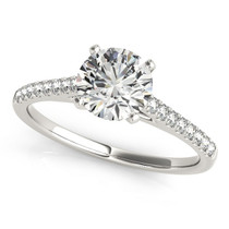 14k White Gold Pronged Round Diamond Engagement Ring (1 5/8 Cttw) - 43682195