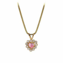 14k Gold Royal Simulated Diamond And Pink Cz Heart Pendant
