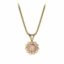 14k Gold Simulated Diamond And Pink Cz Flower Pendant