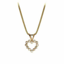 14k Gold Simulated Diamond Cz Open Heart Pendant