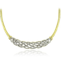 Gold Tone 1/4 Ct Diamond Weave Frontal Necklace
