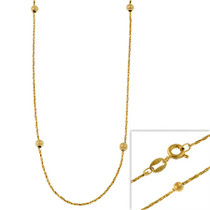 "14k Gold Filled Italian Twisted Mirror Box Chain Necklace W/ Ribbed Beads 16"" 18"" 20"" 24"" - 29782980"