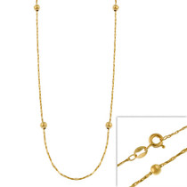 """14k Gold Filled Italian Twisted Mirror Box Beaded Chain Necklace 16"""" 18"""" 20"""" 24"""""""