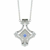 Transforming Blue Simulated Tanzanite Cz Necklace With Simulated Diamond Cz.