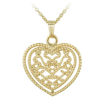 14k Gold Filled Filigree Heart Necklace - 26584252