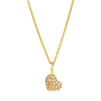 14k Yellow Gold Necklace With Gold And Diamond Heart Pendant (1/10 Cttw)