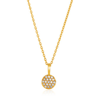 14k Yellow Gold Necklace With Gold And Diamond Circle Pendant (1/10 Cttw)